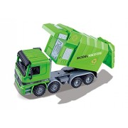 Ampersand Shops Kids Friction Powered Recycling Garbage Truck with Side Loading and Back Dump