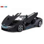 Rastar 1:24 Diecast BMW i8 Concept Vision Car with Opening Doors and Detailed Interior and Exterior, Black, TOYSHINE - 52