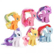My Little Pony 6 Pcs. Twilight Sparkle, Pinkie Pie, Flutter Shy, Rarity, Rainbow Dash, Apple Jack 8-10 Cms. Action Figure
