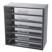 Certeo Schubladenmagazin, Schubladen glasklar HxBxT 387 x 366 x 173 mm, Gehäuse-Traglast 45 kg, 6 Schubladen
