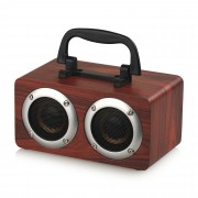 W5B Wood Surface Portable Wireless Bluetooth Speaker HD HiFi Sound Box with Handle Phone Holder - Red