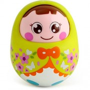 IndusBay Push And Shake Wobbling Tumbler doll Durable Roly Poly with Soothing bell sound - Green