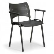 Kovo Praktik Plastová židle SMART - černé nohy s područkami černá