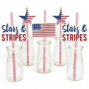 Stars Stripes - Paper Straw Decor - Labor Day Patriotic Party Striped Decorative Straws - Set of 24