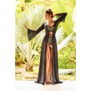 Costum de baie Cosita Linda negru cu slip clasic cu talie inalta si sutien balconette din material auriu