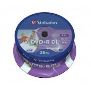 DVD+R VERBATIM 8.5GB 8X DOUBLE LAYER PRINTABLE SPINDLE 25 43667