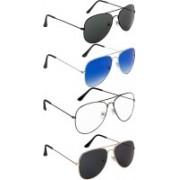 Debonair Aviator Sunglasses(Black, Blue, Clear, Black)