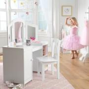 Masuta de toaleta si scaun Deluxe Vanity & Chair White - Kidkraft
