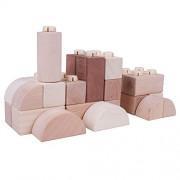 Bigjigs Toys Natural Wooden Click Blocks Set (100 Pieces) - Stacking Blocks