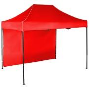 Rýchlorozkladací nožnicový stan 2x3m - oceľový, Červená, 1 bočná plachta