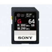 64GB SDXC, Sony SF-G, Class 10, UHS-II Class 3, скорост на четене 300MB/s, скорост на запис 299MB/s
