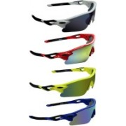 Zyaden Round Sunglasses(Blue, Yellow, Yellow, Blue)