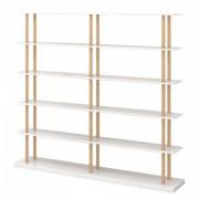 Biblioteca Lindholm IV lemn masiv de stejar/MDF, alb mat /maro, 160 x 168 x 39 cm