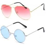 SRPM Aviator, Round Sunglasses(Pink, Blue)