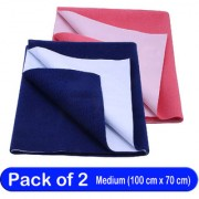 Glassiano Waterproof New Born Baby Bed Protector Dry Sheet Combo Medium Navy Blue/Dark Pink (Pack of 2)