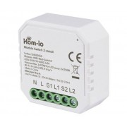 HOM-IO Modulo Dual Switch Da Incasso 10a 2 Canali Wifi Domotica -