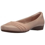 Clarks Women's Blanche Cacee Flat, Sand Leather, 10 W US