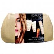 Alterna bamboo smooth on the go kit confezione regalo 40 ml shampoo + 40 ml balsamo + 25 ml olio trattamento + 43 g spray anti-umidità + borsetta