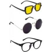 INSH Round, Retro Square, Cat-eye Sunglasses(Yellow, Black, Clear)