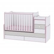 Lorelli Maxi Plus kombi ágy 70x160 - White & Pink Crossline / Fehér & Pink csíkozás