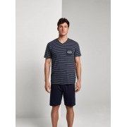 TOM TAILOR Gestreepte pyjama, Heren, blue-dark-horizontal stripe, 54/XL