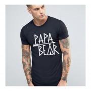 Camiseta Hombre Con Estampados De Letras Para Familia - Negro