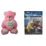Teddy bear soft toy friend & Card dear friends for sister /brother/women/kids /15cm by unique indian craft