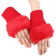 Modo Vivendi Winter Warm Gloves (Wrist Length) Fingerless Knitted Gloves with Rabbit Fur Red