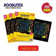 Toiing Doodletoi Return Gift Combo - 20 Packs of Magical Colourful Scratch Art Drawing Papers (1 Pack 3 Sheets)