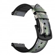 Genuine Leather Coated Silicone Wrist Strap for Huami Amazfit GTR 47mm - Green Camouflage