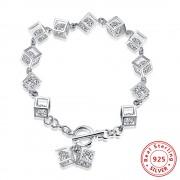 Bratara argint 925, cuburi cu cristale zirconiu