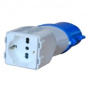 Spina elettrica adattatore industriale CEE 2P+T / Presa bipasso/schuko 10/16A 220V blu - 16125