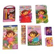 Dora The Explorer Activity Gift Set ~ Surprises and Cheer (Let's Go Explore, Christmas Booklet, Sticker Book, Pencils, Surprises Velour, Notebooks, Board Book; 7 Items, 1 Bundle)