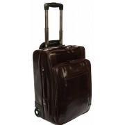 Babila Italian Leather Cabin Trolley Case - Dark Brown