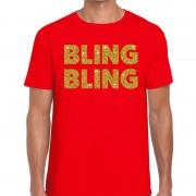 Bellatio Decorations Bling Bling glitter tekst t-shirt rood heren