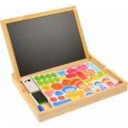 Tabla magnetica din lemn cu fata dubla pentru marker cu creta si forme puzzle cu magnet - 1116