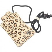 Celly Custodia Fondina Con Laccio Da Collo Pukka-04e Case Cavallino Leopardo Brown Per Modelli A Marchio Philips