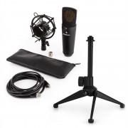 Auna MIC-920B, USB микрофонен комплект V1 - черен голям мембранен микрофон и стойка за маса (60001976-V1)