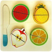 Wooden Fruit Cutting Set (10 Pieces) Toy | Realistic Sliceable Fruits with Velcro | Cooking Play House Set | Educational Toys Kids 3 + Years