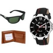 Rich Club Wrap-around Sunglass, Analog Watch, Wallet Combo(Green, Black, Brown)