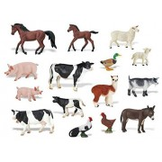 spincart 20 Piece Large Farm Animals Toys Set,Farm Animals Figures Set for Kids,Farm Animal Kingdom Figures Set for Kids, Large Size, Assorted Animal Figures, Non-Toxic, with Jungle Wallpaper / MAT
