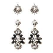 Free Press Ornate Crystal Drop Earrings - Set of 2 CLEAR-BLACK MULTI-GOLD