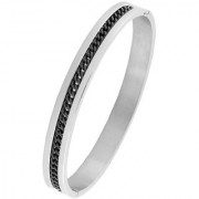 Designer Curb Black Silver 316L Surgical Stainless Steel Openable Free Size Kada Bangle Bracelet Men