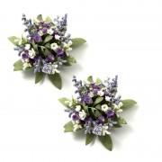 Ljusmanschetter 2-pack lila blommor