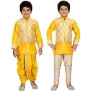 AJ Dezines Kids Ethnic Wear Kurta Waistcoat and Dhoti Pant for Boys