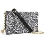 """Timeless Black Paisley Weekender Crossbody Bag For Samsung Z3, Galaxy S7 5.1"""", S6 Edge+ [Slim Fit] S6 Plus, S6 Active, S6 Edge, S6 Duos 