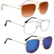 Phenomenal Retro Square Sunglasses(Brown, Clear, Green)