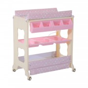 HOMCOM 81Lx53Wx102H cm Multi-Use Baby Changing Table-Pink
