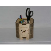 Elegant wooden pen holder with a clock.
