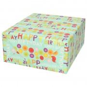 Shoppartners Rol kadopapier happy birthday mintgroen 70 x 200 cm